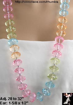 Lucite Pastel Beads Earrings Set: Lucite Long Necklace Set - Antique & Collectible Exchange