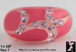 Lucite Rhinestone Ring 2 Tone Pink | Plastic Rhinestone Ring - Antique & Collectible Exchange :  pink designer jewelry lucite ring