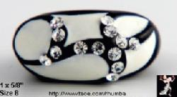Lucite Rhinestone Ring Black & White! | Plastic Acrylic Ring - Antique & Collectible Exchange :  rhinestone designer jewelry tace