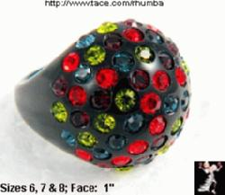 Black Plastic Rhinestone Ring Multicolor Rhinestones - Antique & Collectible Exchange