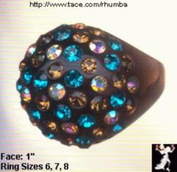Lucite Rhinestone Ring: Brown Turquoise Plastic RS Ring - Antique & Collectible Exchange