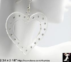 Lucite Rhinestone Heart Earrings - Antique & Collectible Exchange :  transparent jewelry heart tace