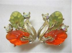 Molded Leaves Orange/Olivine & Aurora Borealis Earrings - Antique & Collectible Exchange :  fashion jewelry molded leaves tace